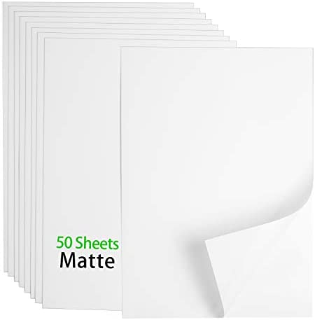 "Premium Printable Vinyl Sticker Paper - 50 Matte White Waterproof Decal Paper Sheets for Inkjet Printer Standard Letter Size 8.5""x11"""