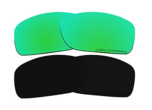 2 Pairs Polarized Replacement Lenses Green & Black for Oakley Crankcase OO9165 - Lenses Crankcase Oakley Polarized