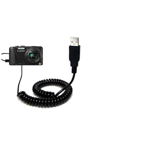 Coiled Power Hot Sync USB Cable suitable for the Panasonic Lumix DMC-ZS25K with both data and charge features - Uses Gomadic TipExchange Technology