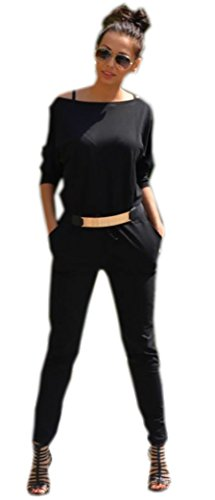 35a6e89946 Oxyd Damen Sommer Jumpsuits Overall Damen Elegant Sweat Black Schwarz Grau  Langarm Eleganter Overall 36/38 40/42: Amazon.de: Bekleidung
