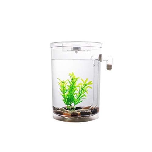 POPETPOP Small Desk Fish Tank Bowl Convenient Aquarium for Office Home Desk Decoration(Round Tank, Without Battery)