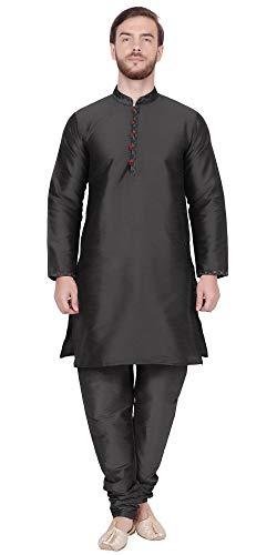 SKAVIJ Men's Tunic Kurta Pajama Anniversary Dress (Large, Black)