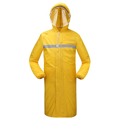 XJRHB Long Raincoat Outdoor Thickening Windbreaker Poncho, Suitable for Camping/Hiking/Travel/Sports, Multi-Color Optional (Color : Yellow, Size : L) by XJRHB