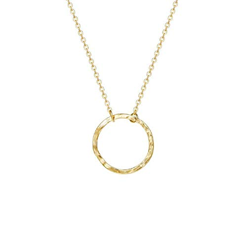 LOYATA Karma Necklace, 14K Gold Plated Dainty Chain Necklace Open Circle Pendant Necklaces for Women