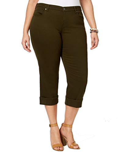 Style & Co Plus Size Cuffed Crop Jeans (Evening Olive, 22W)