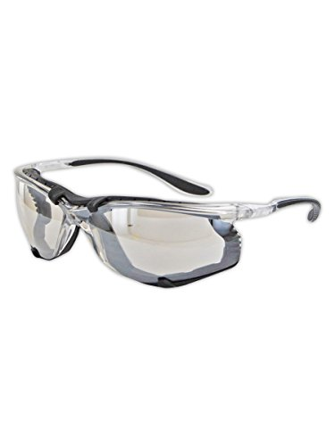 Magid Safety Y84BKAFIO Protective Glasses | Sporty Impact Resistant Clear Safety Glasses with a Removable Foam Liner & Black TPR Temples - UV Protection, Anti-Fog, Scratch Resistant (1 - Temple Uv