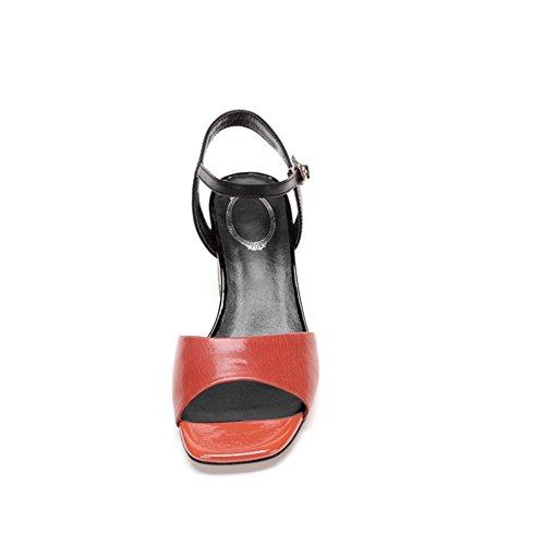 poligonale Sandali Piattaforma L0425 WSXY Spessa Suola Estivi Tallone KJJDE Donna maroon Donna wRYCawxAq