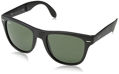 Ray-Ban Folding Wayfarer Sunglasses (RB4105 54) Black Matte/Green Plastic -Polarized - 54mm