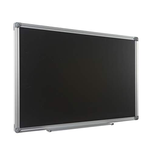 Aluminum Frame Steel Chalkboard - Large Magnetic Chalkboard for School Office Home - 4 THOUGHT 36X24 inch Blackboard Wall-Mounted Magnetic Bulletin Board with Aluminium Frame and Removable Marker Tray
