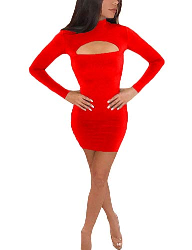 (Womens Women's Sexy Bodycon Vintage Plus Size Midi Demi formal Elegant modest Mini Cute Pencil Short Sheath Tight Dresses Dress For Women Red XL)