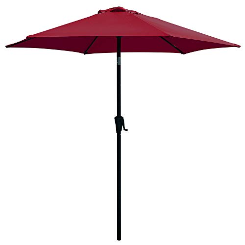 COBANA Patio Umbrella, 7.5′ Outdoor Table Market Umbrella with Push Button Tilt/Crank, 6 Ribs, Dark Red