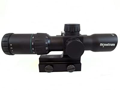 Monstrum Tactical 1.5-6x24 Compact Rifle Scope with Illuminated Range Finder Reticle and Built-In Red Laser Sight