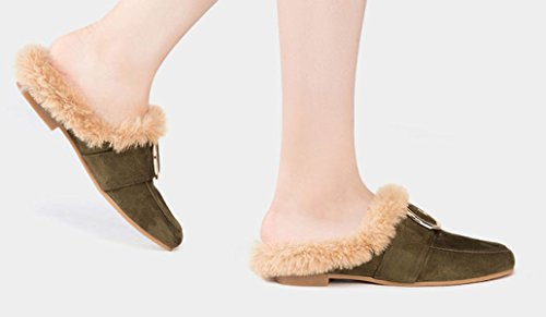 Automne Hiver Green Camel Boucle Chaussures Femme MSM4 Muller Vert Anti laine Plat Métal Chaussures OwFxXInq