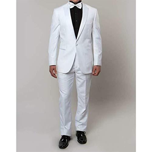 (Mens White 1 Button Slim Fit Tuxedo New with White Sateen Peak Lapels (34S/28Waist Regular))
