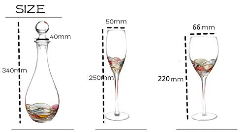 Unique Hand Painted Wine Glass, Wine Decanter, Champagne Flutes, Beer Juice Cup Milk Cup Birthday Wedding Gift drinkware bar Set (Champagne Flute)