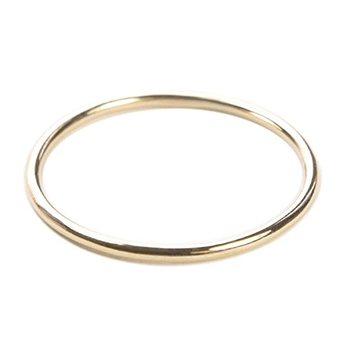 Thin Rings 14k or 18k Rose White Yellow Real Gold Simple Stacking Rings Women Stackable Jewelry 1mm Size 4 to 10