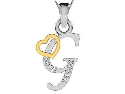 Or Jaune 14 ct Pendentifs Diamant en forme de G alphabet, 0.03 Ct Diamant, GH-SI, 0.62 grammes.
