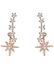 MOMO&CO Shining Starfish-style Zircon Pendant Earring with 925 Sterling Silver Stud