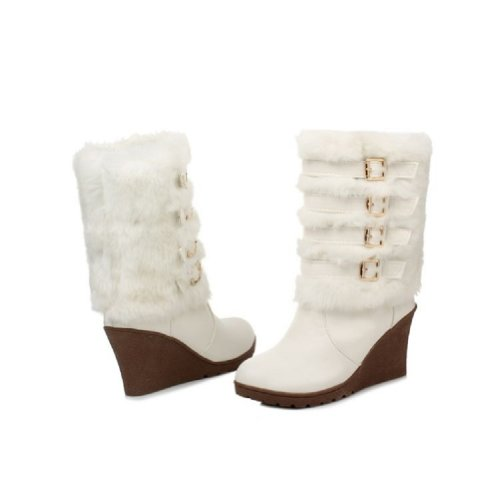 Charm Foot Fashion Faux-fur Plataforma Mujer Cuña Tacón Alto Top Snow Botas Blanco