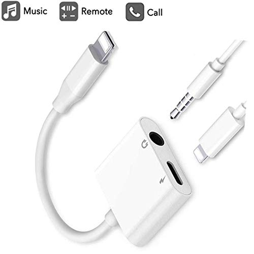 Earphone/Headphone 3.5mm Jack Adaptor Charger Cable Splitter for iPhone, 2 in 1 Headset AUX Audio Dongle Music Splitter Cable Accessories Compatible with iPhone Xs/XR/X/8&Plus/7&Plus/iPad/iPod/iOS 12