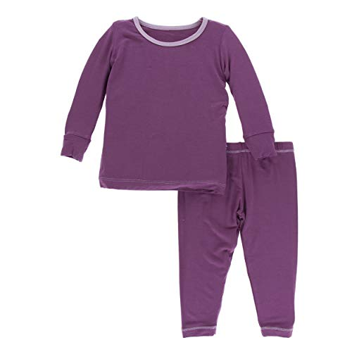 Kickee Pants Little Girls Solid Long Sleeve Pajama Set - Amethyst with Sweet Pea, 2T