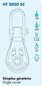 Nautos #HT 2020SC-DYNAMIC LINE 20 MM -SINGLE SWIVEL- 20 mm sheave-Heavy duty characteristics.Sailboat block