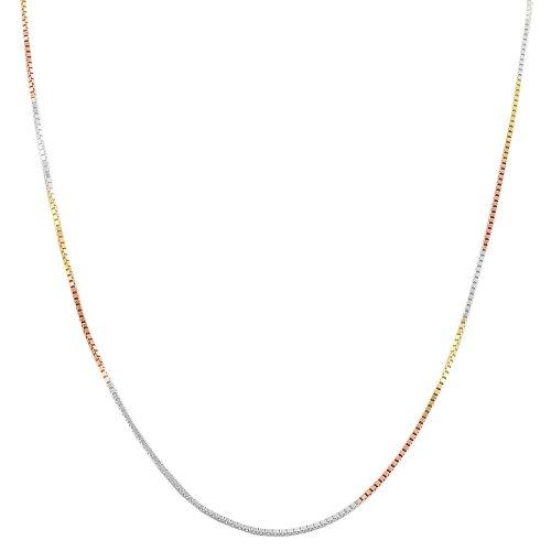 Tricolor Sterling Silver 0.8-Mm Venetian Box Chain Necklace (0.8mm, 36 inch) (Necklace Box Chain Venetian)