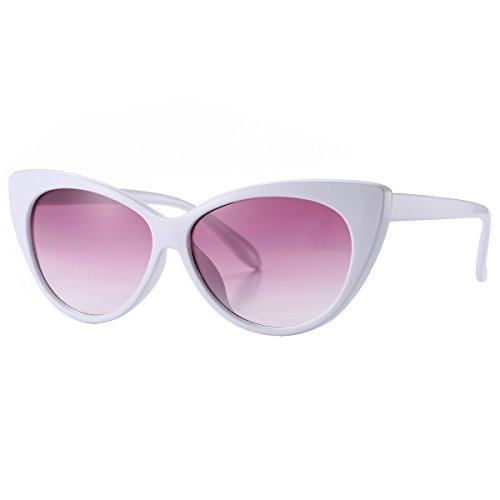 Pro Acme Super Cute Vintage Inspired Fashion Mod Chic High Pointed Cat Eye Sunglasses (White Frame/Pink Gradient - Lens Sunglasses White