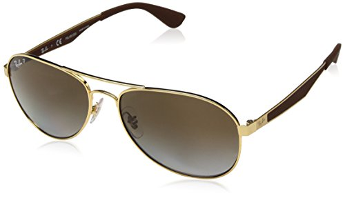Ray-Ban RB3549 Aviator Sunglasses, Gold/Polarized Brown Gradient, 58 ()
