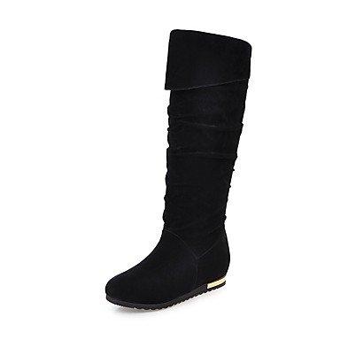 RTRY Zapatos De Mujer Polipiel Otoño Invierno Perezoso Botas Botas Botas Altas De Punta Redonda Rodilla Hebilla Para Vestimenta Casual Gris Marrón Negro Beige US7.5 / EU38 / UK5.5 / CN38