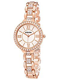 ETEVON Women Watch Round Rose Gold Hallow-out Crystal-studded Bezel Bangle Wristwatch