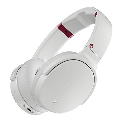 Skullcandy Venue Active Noise Cancelling Headphones, Over The Ear Bluetooth Wireless, Tile Integration, Rapid Charge 24-Hour Battery Life, Lightweight Premium Materials, White/Crimson (Renewed)