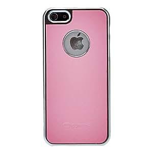 Procesamiento de dos días -Coma exquisito lleno estuche rígido de cuero genuino marco de titanio para 5/5s (colores opcionales) iphone,Pink