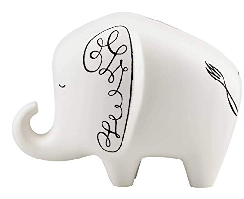 Lenox Kate Spade New York Woodland Park Elephant Bank New Save in this Cute Black and White Piggy bank ()