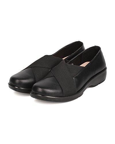 Black Loafer Toe Round Leatherette Refresh Elastic Women Walking FG28 qw8aUU