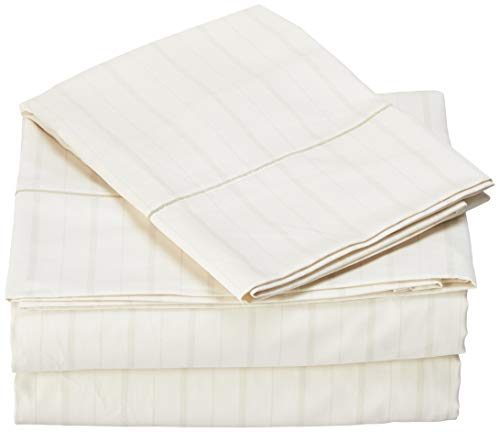 Charisma 310 Thread Count Classic Stripe Cotton Sateen Twin Sheet Set in Almond Milk