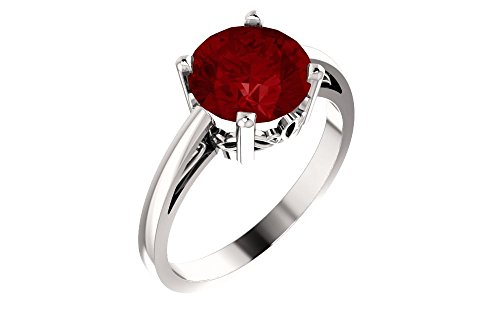 FB Jewels 14k White Gold Ruby Round 8 mm Polished Chatham Ruby Scroll Ring Size 7