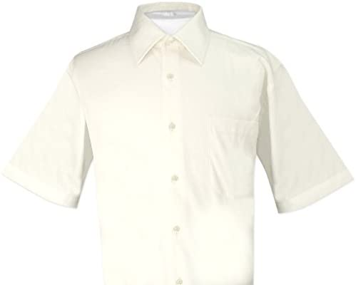 Biagio 100% Cotton Men`s Short Sleeve Solid Cream Color Dress Shirt