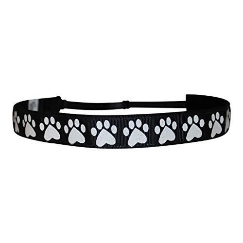 BEACHGIRL Bands Headband Adjustable No-Slip Hairband Black Glitter Paws (Print Paw Basketball)