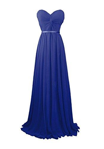 Fanciest Robes De Demoiselle D'honneur En Mousseline De Soie Chérie Femmes Longues Robes De Soirée Bal Bleu Royal