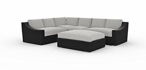 Toja Bretton Outdoor Patio Sectional Set (5 pcs) | Wicker Rattan Body with Sunbrella Cushions (Cast Silver) - Outdoor Sectional Seating
