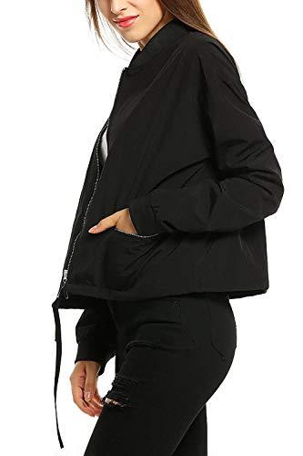Fashion Corto Schwarz Giacca Coulisse Moda Cerniera Sciolto Solidi Outerwear Giaccone Con Aviatore Giacche Collo Colori Primaverile Manica Da Coreana Autunno Di Lunga Transizione Donna Giovane vxwdTqzSz
