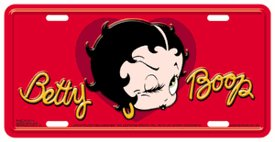 Betty Boop Face Head with Script Red Car Truck SUV Home Office Room Wall - License Plate - Head Plate License Tag