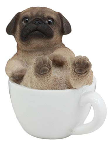 "Ebros Realistic Mini Adorable Pug Dog Teacup Statue 3"" Tall Pet Pal Dog Breed Collectible Resin Decor Figurine with Glass Eyes"