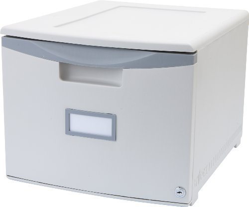 Storex Single Drawer Mini File Cabinet with Lock, 18.25 x 14.75 x 12.75 Inches, Legal/Letter, Gray (Single Drawer File Cabinet)