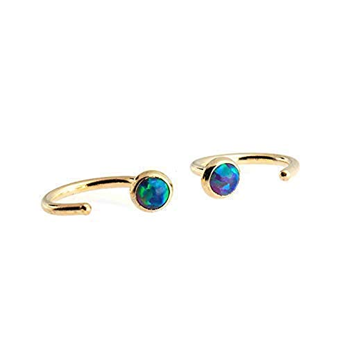 14K Gold Filled Dark Green Opal Hoop Hugger Earrings GF-R-D9-3MM-18GA-GR. Opal