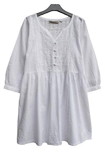 Ayurvastram Megha Pure Cotton Hand Embroidered Tunic Top Blouse: White, L