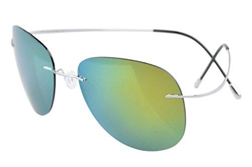 Eyekepper cerclees Titanium Cadre Style Aviateur Pilote lunettes de soleil polarisees Argente-dore