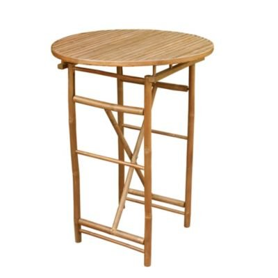 Statra TA-265-06 Bar Height Folding Brown Bamboo Round Table, 41