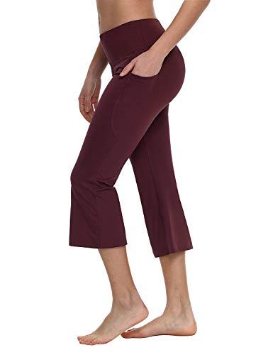 Baleaf Women's Yoga Capri Pants Flare Workout Bootleg Crop Leggings Ruby Wine -